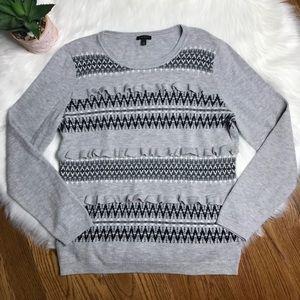 Talbots Fair Isle Ruffle Grey Sweater Size Large